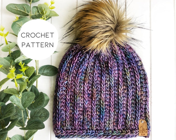 Crochet Pattern | The Fresh Tracks Beanie | Fitted Toque | Classic Ribbed Beanie | Knit Look | Vertical Rib | Modern crochet pattern |
