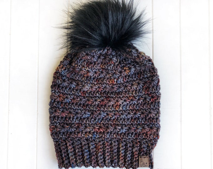 The LUXURY Snowdrops Beanie// ADULT// Hand-dyed Superwash Merino// Indie-dyed// Crochet Wool Toque// Foundry// Unique Textured Hat//