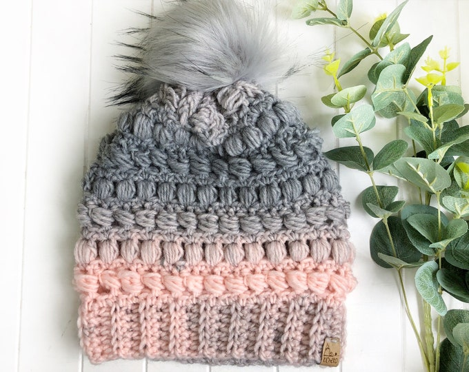 The Fairywren Beanie// Adult hat// Mens hat// Womens Hat// Wool Beanie// Crochet Toque// Bead stitch hat// puff stitch// Pink Grey Ombre//