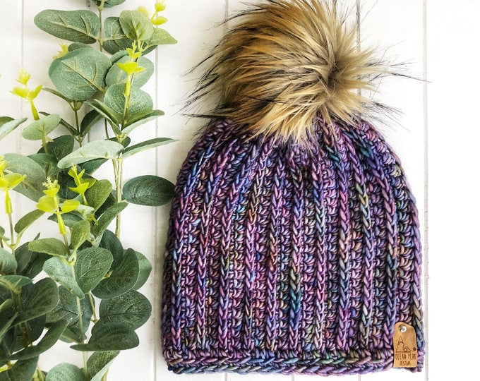 The LUXURY Fresh Tracks Beanie// ADULT// Hand-dyed Superwash Merino// Indie-dyed// Crochet Wool Toque// Classic Ribbed// Clean Fresh Design