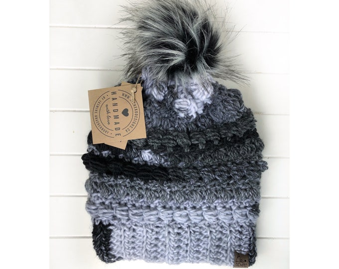 The Fairywren Beanie// ADULT// Mens hat// Womens Hat// Wool Beanie// Crochet Toque// Bead stitch hat// puff stitch hat//