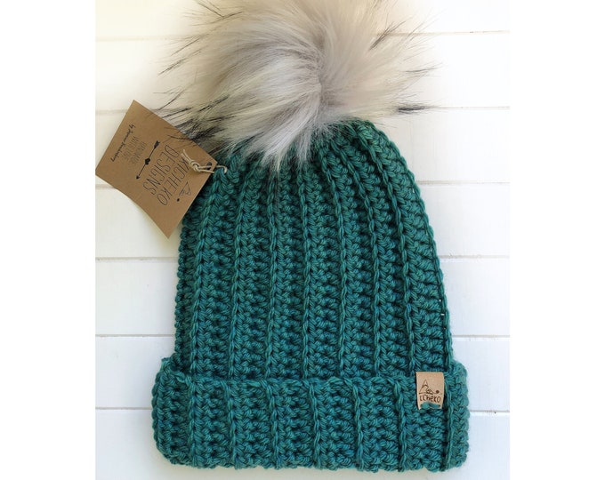 The Jessie Beanie// Newborn ~ Baby ~ Toddler ~ Child ~ Adult// Wool Beanie// Crochet Toque// Classic Hat// Fold over brim// Heathered Green