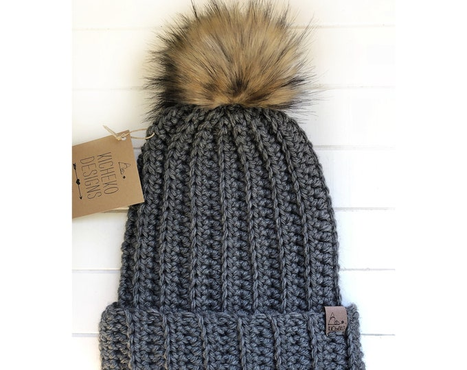 The Jessie Beanie// Newborn ~ Baby ~ Toddler ~ Child ~ Adult// Wool Beanie// Crochet Toque// Classic Hat// Fold over brim// Dark Grey