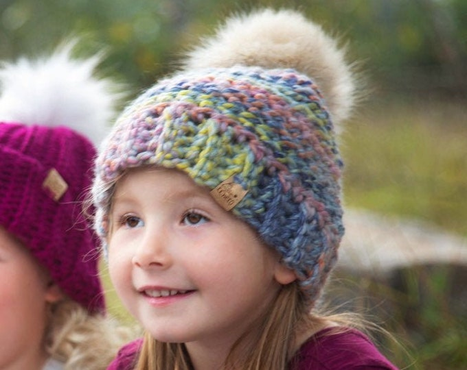 The Aurora Beanie// Toddler ~ Adult // Wool Acrylic Beanie// Crochet Toque// Dreamcatcher//