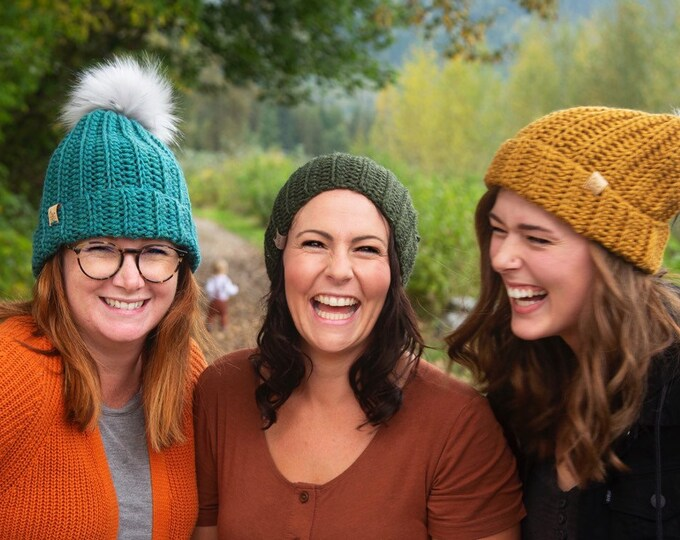 The Jessie Beanie// Newborn ~ Baby ~ Toddler ~ Child ~ Adult// Wool Beanie// Crochet Toque// Classic Hat// Fold over brim// Mustard