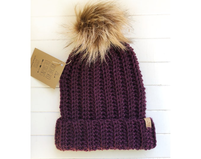 The Jessie Beanie// Newborn ~ Baby ~ Toddler ~ Child ~ Adult// Wool Beanie// Crochet Toque// Classic Hat// Fold over brim// Heathered Purple