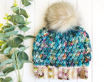 READY TO SHIP - Adult - The Timberline Beanie | Luxury Collection | Hand-dyed Merino | Crochet Toque | Teal Multi | Textured | Unique