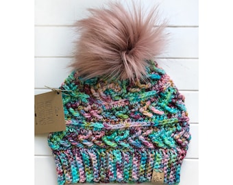 MADE TO ORDER - Adult - Sparrow Beanie   Luxury Collection   Hand-dyed Merino Wool   Crochet Toque   Textured   Unique   Arrow detail  