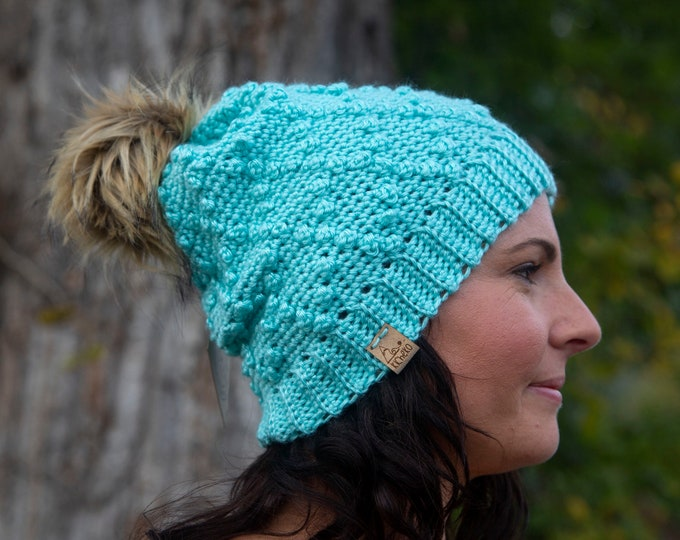 The Warbler Beanie// ADULT// Mens hat// Women's Hat// Crochet Toque// Diamond Pattern Beanie// Robin's Egg Blue//