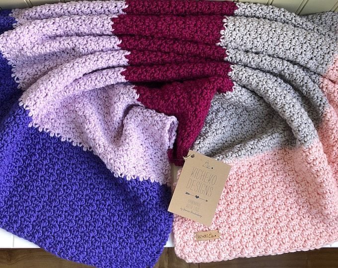 "Little Ombré Blanket// 31""x28""// Pure Naturally Soft Merino// Pure Wool Blanket// Wool Baby Blanket// Baby Stroller Blanket// Purple Magenta"