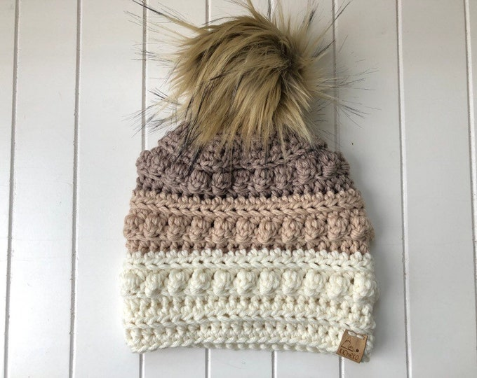 Bobble Toboggan Beanie/// Newborn ~ Baby ~ Toddler ~ Adult// Neutral Ombre// Bobble hat// Super Soft Beanie// Crochet Bobble Stitch