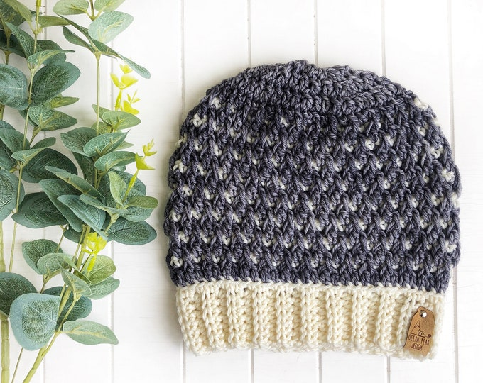 The Timberline Beanie // Adult // Hand-dyed Merino// Crochet Toque// Cream Grey//