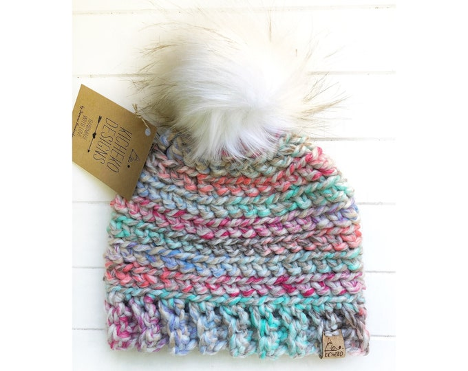 The Aurora Beanie// Toddler ~ Adult // Wool Acrylic Beanie// Crochet Toque// Carousel//
