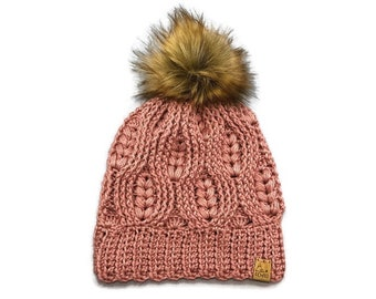 PICK YOUR COLOUR - Adult - Woven Hearts Beanie with handmade Faux Fur Pom   crocheted toque   winter hat   Textured   Unique   Acrylic