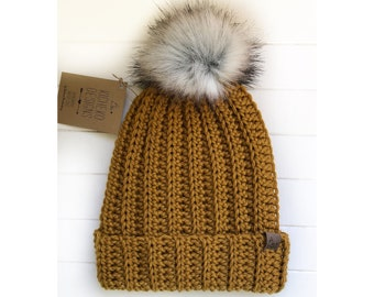 PICK YOUR COLOUR - Adult - Jessie Beanie with handmade Faux Fur Pom | Classic ribbed winter hat | Fold over | Slouchy | Fitted | Wool Blend