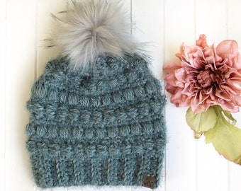 PICK YOUR COLOUR - Adult - Fairywren Beanie with handmade Faux Fur Pom   hygge   crocheted toque   winter hat   Textured   Unique   Acrylic