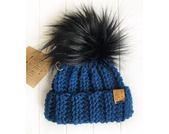 The Jessie Beanie// Newborn ~ Baby ~ Toddler ~ Child ~ Adult// Wool Beanie// Crochet Toque// Classic Hat// Fold over brim// Deep Ocean Blue