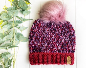 READY TO SHIP - Adult - The Timberline Beanie | Luxury Collection | Hand-dyed Merino | Crochet Toque | Red Pink | Textured | Unique