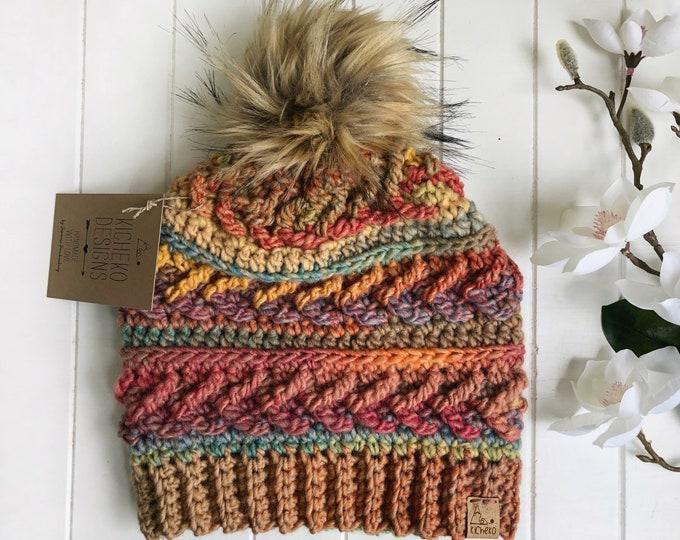The Sparrow Beanie// ADULT// classic texture// Arrow Beanie// Unique Beanie// Wool Beanie// Crochet Wool Toque// Sherbert