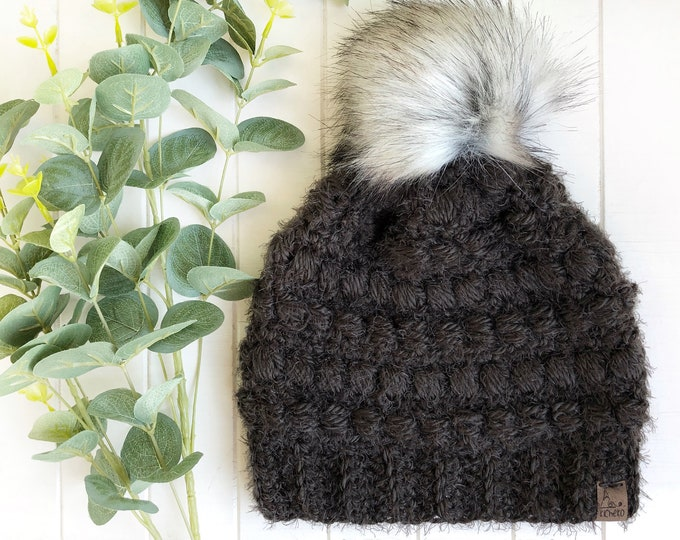 The Fairywren Beanie// ADULT// Women's Hat// Crochet Toque// Puff Stitch// Bead Stitch// Hygge// Smokey//