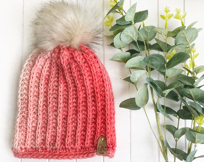 The Fresh Tracks Beanie// ADULT// classic ribbed// Unique Beanie// Wool Beanie// Crochet Wool Toque// Coral Ombre