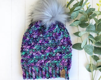 READY TO SHIP - Adult - The Snowdrops Beanie | Luxury Collection | Hand-dyed Merino Wool | Crochet Toque | Textured | Unique |