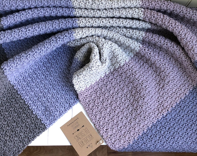 "Little Ombré Blanket// 31""x28""// Pure Naturally Soft Merino// Pure Wool Blanket// Wool Baby Blanket// Baby Stroller Blanket// Mist"