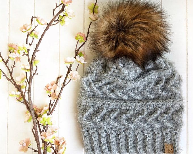 The Sparrow Beanie// ADULT// Women's Hat// Crochet Toque// Arrow Design// Hygge// Cloud//