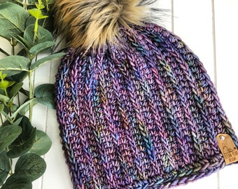 READY TO SHIP - Adult - The Fresh Tracks Beanie | Luxury Collection | Hand-dyed Merino | Crochet Toque | Textured | Unique | Classic Rib
