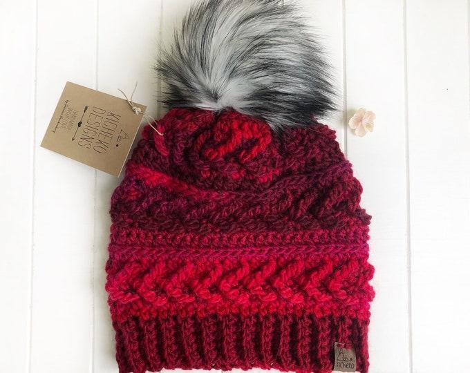 The Sparrow Beanie// ADULT// classic texture// Arrow Beanie// Unique Beanie// Wool Beanie// Crochet Wool Toque// Raspberry