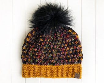 READY TO SHIP - Adult - The Timberline Beanie | Luxury Collection | Hand-dyed Merino | Crochet Toque | Mustard Black | Textured | Unique