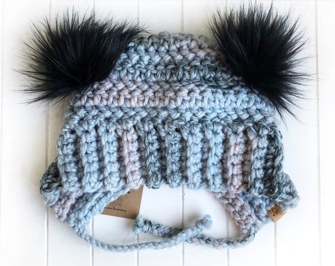 The Bumble Bear Beanie// Infant ~ Toddler ~ Child // Wool Acrylic Beanie// Crochet Toque// Chunky Beanie// Arctic Ice//