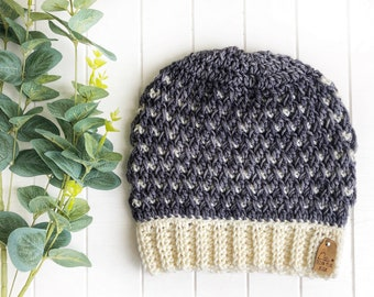 READY TO SHIP - Adult - The Timberline Beanie | Luxury Collection | Hand-dyed Merino | Crochet Toque | Cream Grey | Textured | Unique