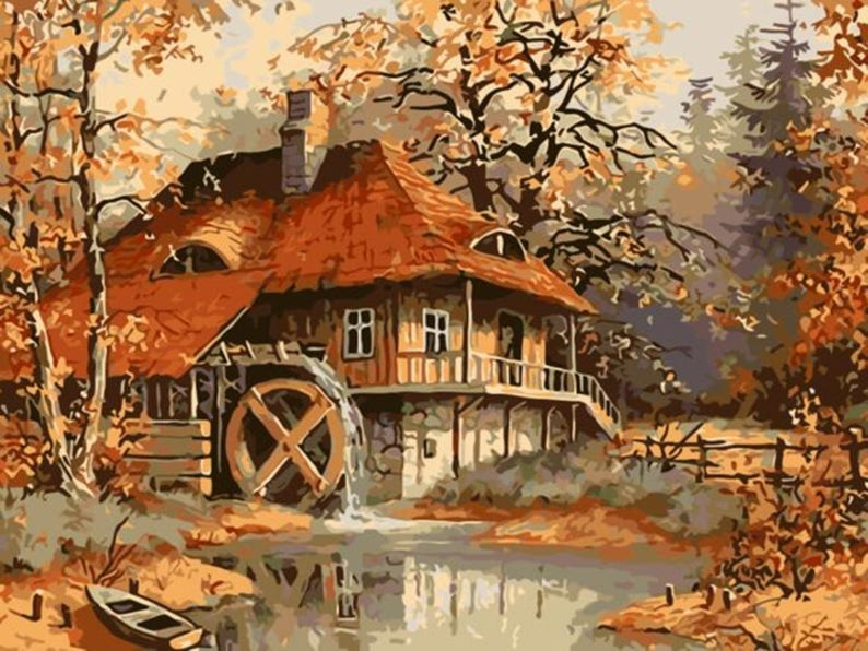 Peinture par Num\u00e9ro Frameless Autumn Fall Landscape Watermill Cabin PAINT BY NUMBERS Canvas Painting Kit 20 x 16 ins