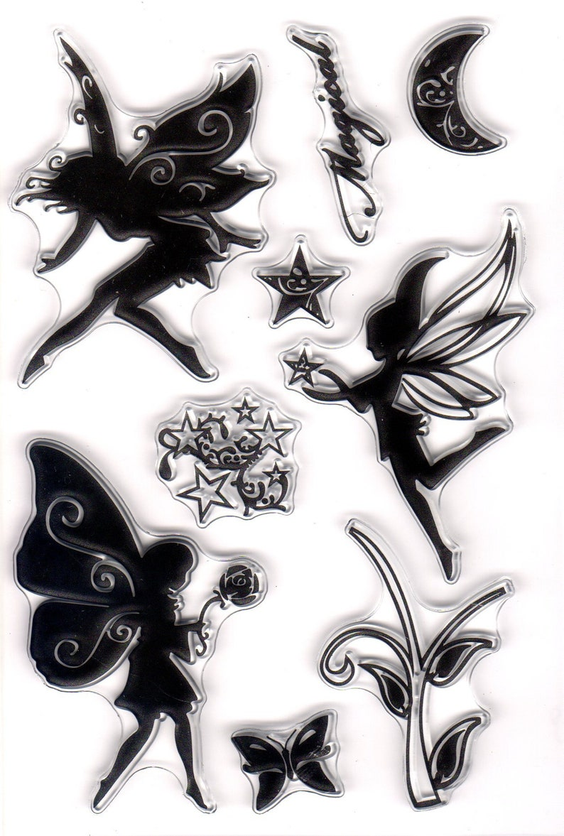 MAGICAL FAIRY CLEAR STAMP SHEET SET for CARD MAKING /& SCRAP BOOKING NEW
