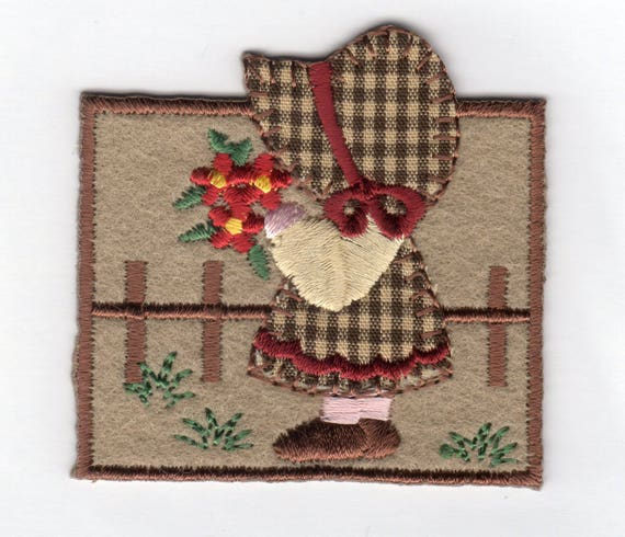 Country Girl with Flowers Embroidery Patch