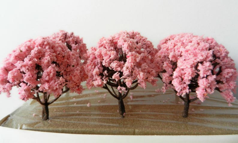 6 x Pink Blossom Model TREES 8 cm ~ Scenery for H0 / 00 Scale, MODEL TRAIN  Accessory, Brand New