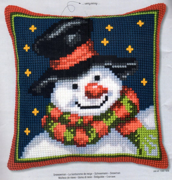 Santa in Hat Large Holed Printed Canvas Tapestry//Chunky Cross Stitch Cushion Kit
