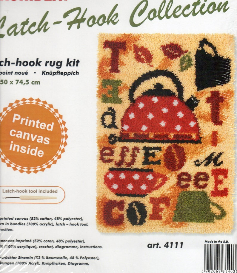 Tea /& Coffee Latch Hook Kit Rug Making Kit By Orchidea 50x74.5cm Printed canvas