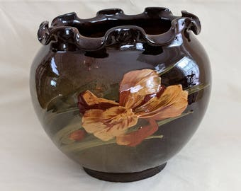 Weller Louwelsa large jardiniere with Iris, chocolate brown with golden flower, high gloss, 9 1/2 inches high