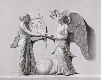 """F. Dequevauviller """"Victoire Choragique"""" antique engraving"""