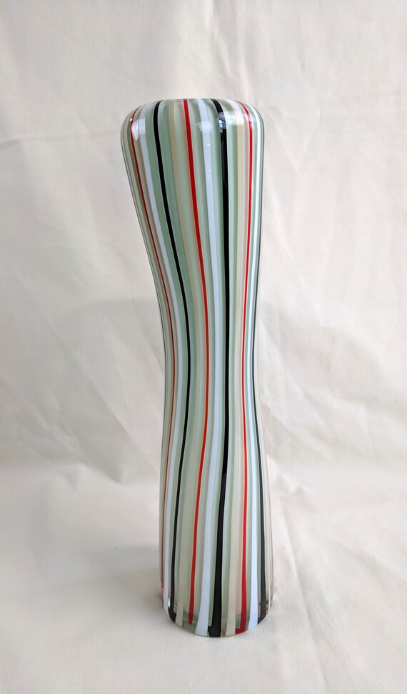 Elongated Cased Glass Striped Vase Studio Glass Red Blue Etsy