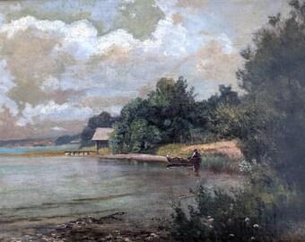 """Ludwig Correggio """"On Lake Starnberg"""" c. 1860, oil painting on panel"""