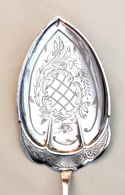 Odergaard Norwegian .830 silver pastry server; G.E monograms; 10 inches long