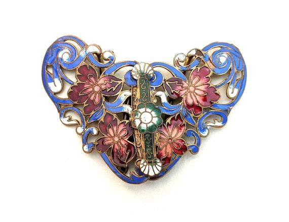 Cloisonne Enamel Brooch Pin Jewelry Gold Plated 70/'s Brass 2 Butterfly