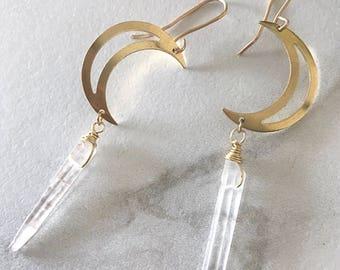 Gold Moon Earrings, Dainty Quartz Earrings, Crescent Moon Earrings, Half Moon Earrings Gold, Dangle Quartz Earrings, Moon Earrings Dangle
