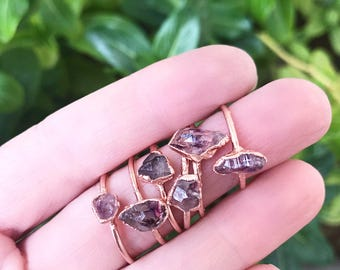 Dainty Amethyst Ring, Delicate Crystal Jewelry, Tiny Crystal Ring, February Birthstone Gift, Copper Stacking Ring, Small Raw Amethyst Ring
