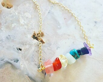 Chakra Gemstone Bar Necklace. Chakra Necklace. Rainbow Gemstone Necklace. Gold Bar Necklace. Chakra Gemstone Necklace. Chakra Gold Necklace