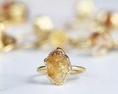 Gold Citrine Ring, Gold Electroformed Crystal Ring, 14k Gold Raw Citrine Ring, November Raw Birthstone Ring, Citrine Ring Gold