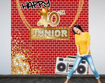 Hip Hop Party Personalized Photo Backdrop, 90s Photo Backdrop- Graffiti Birthday Photo Backdrop - Custom Backdrop, Printed Backdrop